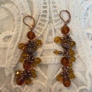 Vintage dangly honey amber colored earrings
